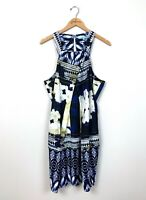 Antonio Melani Sleeveless Blue Ivory Floral Square Neck Dress Size 12 L