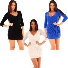 V-Neck Draped Short Sleeve Dresses for Women