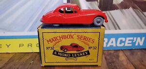 50s MATCHBOX LESNEY.32 JAGUAR XK140.RED.Grey plastic wheel.mint in box.Original