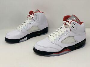 Air Jordan 5 'Fire Red' White Sneakers, Size 8.5 BNIB DA1911-102 *B-grade*