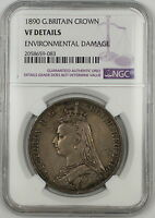1890 Great Britain Silver Crown Coin NGC VF Details Environmental Damage