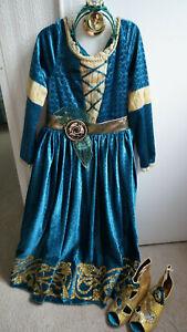 Disney Store Princess MERIDA Brave Costume Dress Size 7/8 SHOES 2/3 TIARA Crown