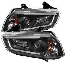 Spyder Projector Headlights - Light Tube DRL - Black for 2011-14 Dodge Charger