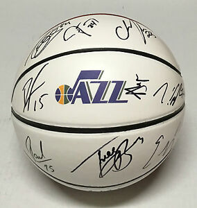 2015 UTAH JAZZ TEAM Signed Autographed Basketball COA! GOBERT/BURKE/BURKS/FAVORS