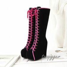 HOT Gothic Womens Wedge Hidden Heel Knee High Boots Lace-up Platform US 8/EUR 39