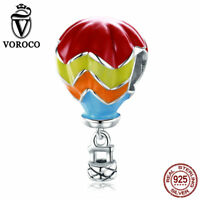 VOROCO Sterling Silver hot air balloon Charms with Colorful Enamel for Bracelet
