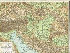 Physische Karte ÖSTERREICH-UNGARN 1894 Original-Graphik