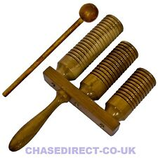 More details for chase wooden triple guiro percussion wood block scraper beater with handle --