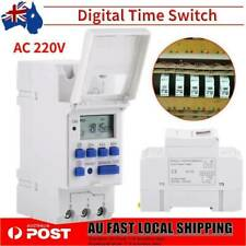 AU Local Digital LCD Power Programmable DIN Rail Timer Time Switch Relay AC 220V