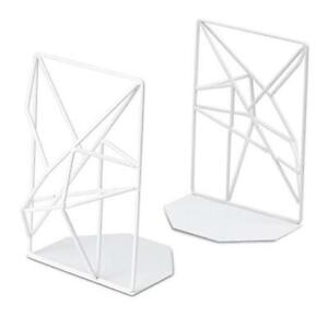 Bookends White, Decorative Metal Book Ends Supports for Shelves, Unique 1 White