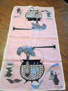 Retro Town House  De Antonio Linen Dish Tea Towel Pink Background    Awesome