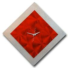 Hurry! Last One! Red Modern Metal Wall Clock - Circles of Red 12 by Jon Allen