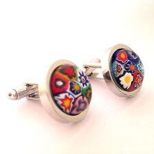 Random Multi-Coloured Murano Millefiori Round Glass Inlay & Silver Cufflinks