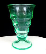 """PADEN CITY #191 PARTY LINE TEAL VASELINE GLASS 5"""" FOOTED SODA 1928-"""
