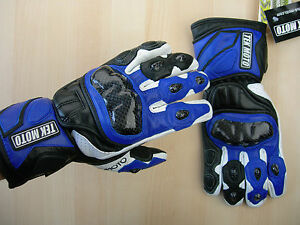 Tek Moto Gloves Blue w Leather Carbon Fiber Gauntlet black white