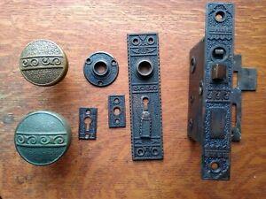 """Antique Bronze Entry Door Set Doorknobs, Doorplates, Keyed Lock """"Bouquet"""" c1895"""
