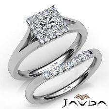 1.03ctw Halo Pave Bridal Princess Diamond Engagement Ring GIA G-SI1 White Gold