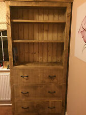 SOLID WOOD RUSTIC CHUNKY WOODEN STORAGE BOOKCASE WITH DRAWERS MADE TO MEASURE