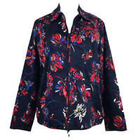 Laura Ashley Floral Jacket Size M Navy Embroidered Cotton Stretch Lined Full Zip