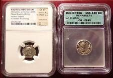 Rare 155-130BC Silver Drachm Indo Greek Silver Original and Fouree Pair NGC ICG!