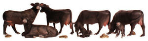 Woodland Scenics N Scale Scenic Accents Figures/Animal Set Black Angus Cows (7)