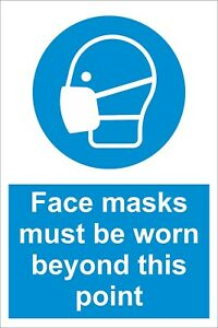 Face Masks Must Be Worn - 19Covid Social Distancing Sign / Sticker A4 / A5
