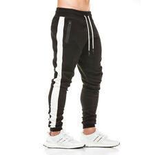 Men Fitness One Side Zipper Elastic Pants Stretch Jogger Bodybuilding Trousers
