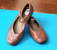 Michel M Women's Brown Leather Mary Jane flats shoes size 6