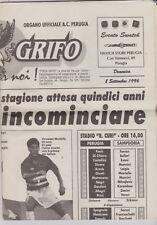 Programme / Programma / newspaper Forza Grifo A.C. Perugia v Sampdoria 8-09-1996