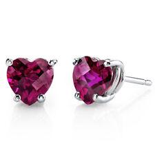 14K 14ct White Gold 1.6 Ct Lab Ruby Stud Earrings Heart Cut 6 x 6 mm