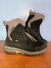 Merrell Tundra Women 8.5 Black Waterproof Suede Polartec Winter Snow Boots Hike