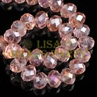 100pcs 3x4mm Faceted Rondelle Crystal Glass Loose Spacer Beads Aqua Red AB Craft