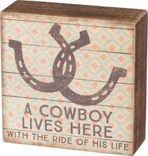 Primitives By Kathy Box Sign A COWBOY LIVES HERE 5x5 in NEW Southwestern Horse