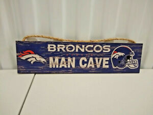 Denver Broncos Licensed 4 x16 Distressed Wood MAN Cave Sign With Rope