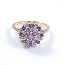 Garnet ring 9 carat gold Size O cluster with cubic zirconia
