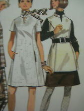 Vintage Butterick 5216 A-LINE DRESS MANDARIN COLLAR Sewing Pattern Women Sz 8