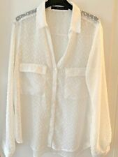 Zara White Sheer Polka Dot Shirt Size Small