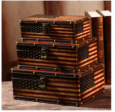 Set of 3 Retro Vintage American Flag Suitcase Storage Boxes Decorative Box Chest