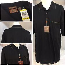 Tasso Elba Golf Polo Shirt M Black 100% Cotton Pocket Made In India NWT YGI 3622