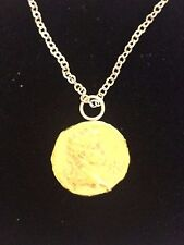 """Victorian Soverign Coin WC32 Gold Made In Pewter On 20"""" Silver Plated Necklace"""