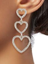 Kenneth Jay Lane KJL Crystal Heart Drop Earrings NWT