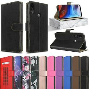 For Motorola Moto E7i Power Case Leather Wallet Stand Phone Cover + Screen Glass