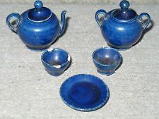 Miniature Antique Cobalt Blue Ceramic Dollhouse Tea Set TEAPOT Sugar Bowl Cups
