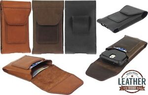 HAND SEWED TOGO'S GENUINE LEATHER POUCH WITH 2 POCKETS CASE COVER FOR PHONES
