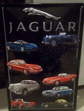 "JAGUAR CARS COLLAGE-E-TYPE, EMBOSSED(3D) METAL ADVERTISING SIGN, 12""X 8"" 30X20cm"