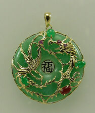 Green Jade and Ruby 0.08ct Pendant 14k Yellow Gold