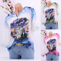 Womens Boho V Neck Tops Casual Loose Floral Long Sleeve Blouse T Shirt Plus Size
