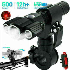 Mountain Bike Lights Rechargeable 18650 Bicycle T6 LED Torch Front Rear Lamp Set