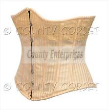 Underbust Hueso de acero pesado cordones Bustier de forma de V dorado a rayas corsé brocado