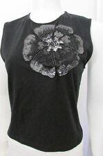 Valentino Women Black Cotton Fashion Tank Top Big Flower Cut Lace Sequins Medium